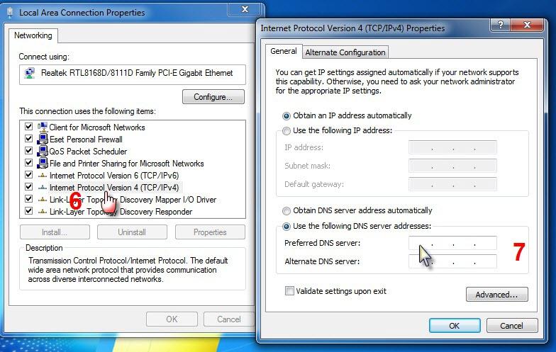 شرح تعديل ارقام الـ DNS لويندوز Xp و ويندوز 7 لحل مشكلة الوصول الى المنتدى:Server not found  1010