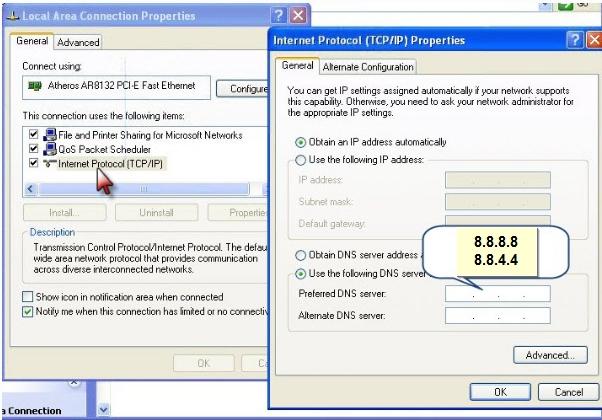 شرح تعديل ارقام الـ DNS لويندوز Xp و ويندوز 7 لحل مشكلة الوصول الى المنتدى:Server not found  610