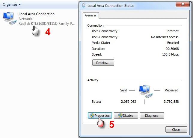 شرح تعديل ارقام الـ DNS لويندوز Xp و ويندوز 7 لحل مشكلة الوصول الى المنتدى:Server not found  910