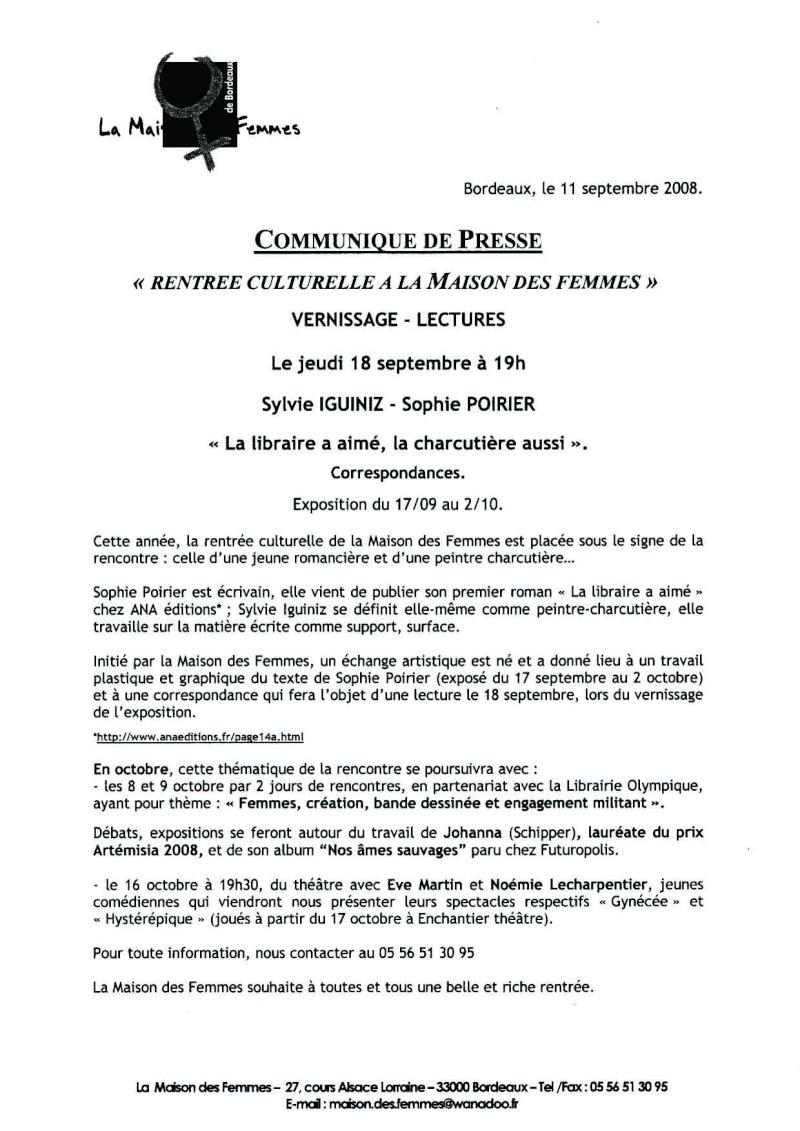 Jeudi 18/09/08 Vernissage-Lectures La libraire a aimé 20080910