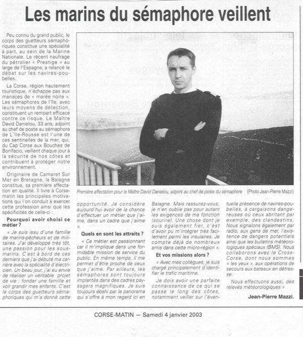[ Les sémaphores - divers ] Les sémaphores en Corse vus par Corse Matin Articl17