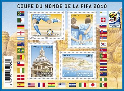 Timbres France - Coupe du Monde de Football FIFA Afrique du Sud 2010 11101010