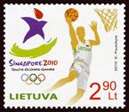 Timbre Lithuanie (Basket) - Jeux Olympiques de la Jeunesse Singapour 2010 Philat10