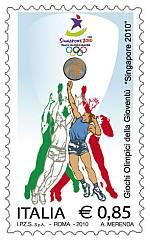 Timbre Italie (Basket) - Jeux Olympiques de la Jeunesse Singapour 2010 Philat12