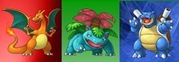 Charizard, Blastoise and Venusaur