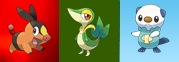 Tepig, Snivy and Oshawott