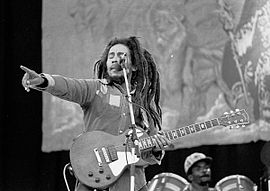 """Robert Nesta """"Bob"""" Marley, OM (6 February 1945 – 11 May 1981) was a Jamaican singer-songwriter and musician 270px-10"""