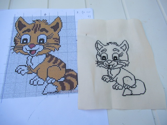 mon petit chat Broderie terminée Img_8014