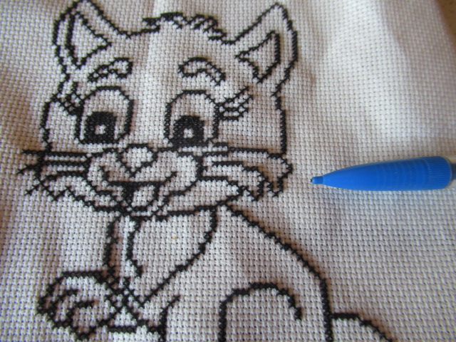 mon petit chat Broderie terminée Img_8015