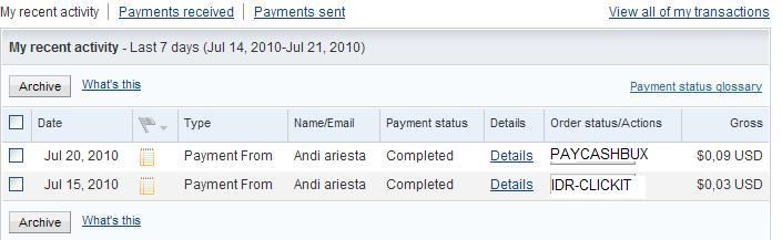Payment Proft from andykid Py10