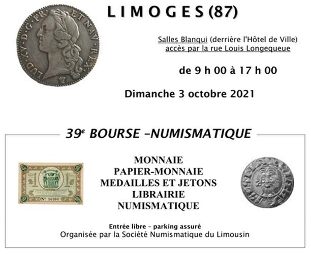 3 octobre - Bourse Numismatique à Limoges Affich12
