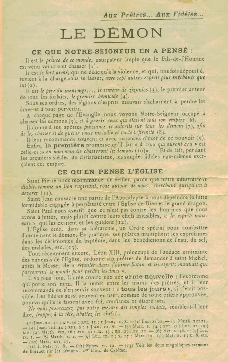 """Les """"Annales du Mont Saint Michel"""" suggèrent de réciter l'Exorcisme de Léon XII  Montmi10"""