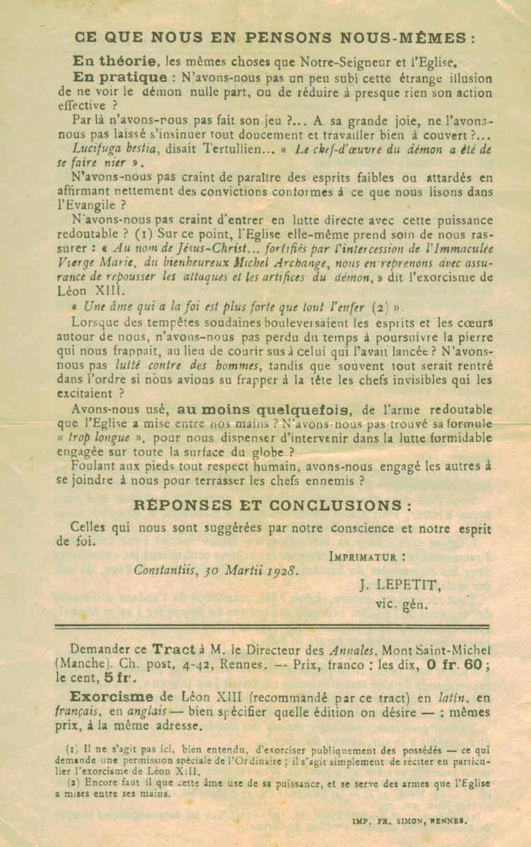 """Les """"Annales du Mont Saint Michel"""" suggèrent de réciter l'Exorcisme de Léon XII  Montmi11"""