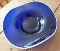 Large irregular blue bowl with opaque white rim Blue_b10