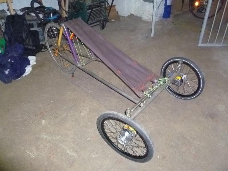Autofabrication d'un trike, hauteur de pedalier P1020813