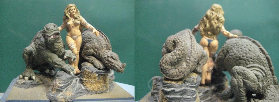 2 Figurine 80mm fantaisie d'après illustration de Boris Vallejo 1h15