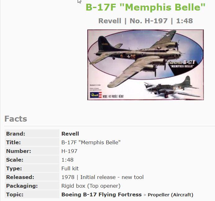 B 17 Memphis Belle Revell 1/48 2020-018
