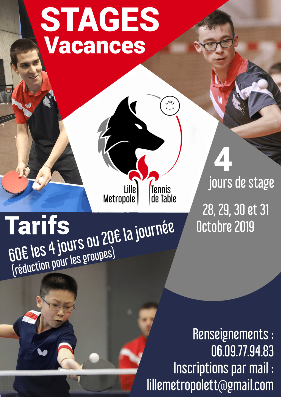 Stage de tennis de table du 28 au 31 octobre Affich18