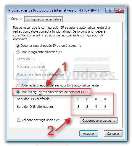 Modificar los servidores DNS de una conexión Cambia15