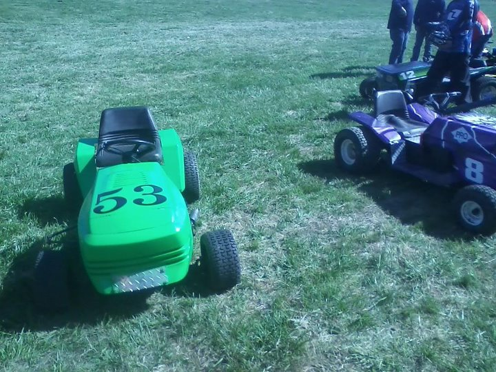 my lime green raceing lawn mowers  57507710