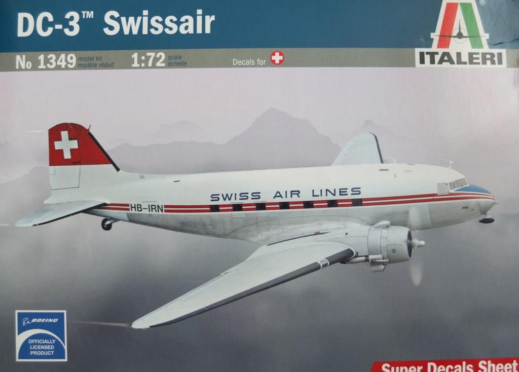 """[CONCOURS """"Ca brille""""] DC-3 Swissair 1937 - ITALERI- 1/72 S0011410"""