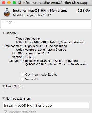 Mise a jour macOS High Sierra 10.13.6 (17G65) Hs136010