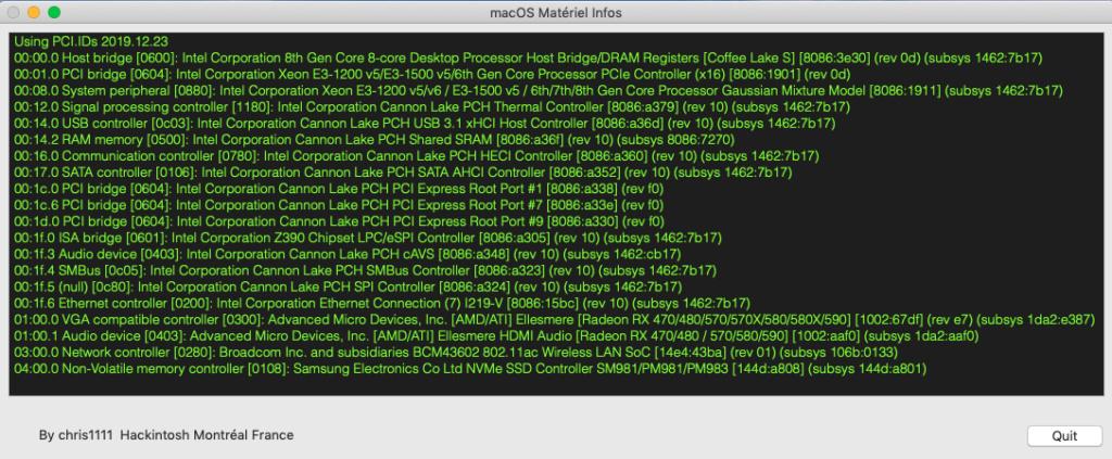 macOS Matériel Infos Matinf10