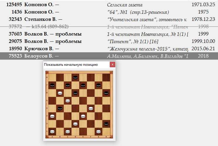 Уточнение первоисточников публикаций(проблемы в русские шашки) 1127