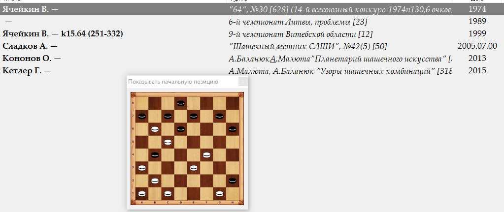 Уточнение первоисточников публикаций(проблемы в русские шашки) 259