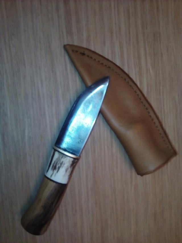 Cuchillo de hoja de tronzadora industrial, mango de asta y madera de brezo Img_2013
