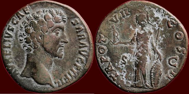 Sesterce de Marc Aurèle César buste à gauche 6418d910