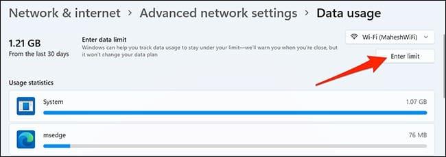 كيفية تقييد استهلاك الإنترنت في ويندوز 11 4-ente10
