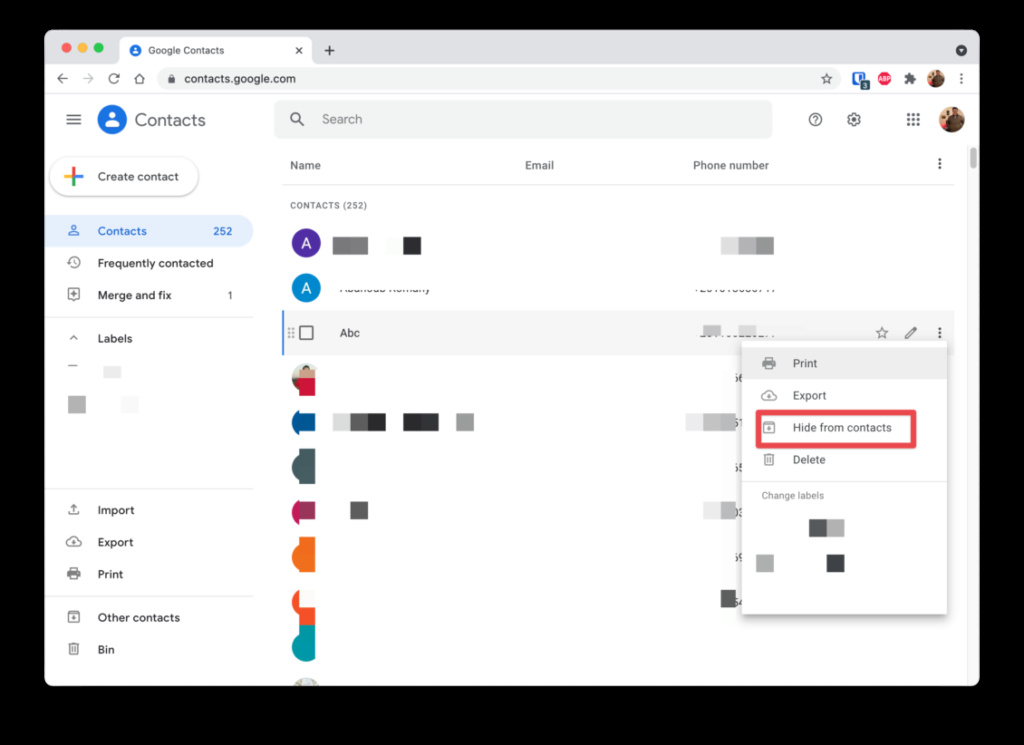 كيفية إخفاء جهات اتصال جوجل التي لا تستخدمها Cleans11