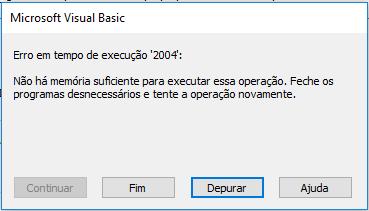 [Resolvido]Erro em tempo de execução '2004' - Não há memória suficiente Erro_210