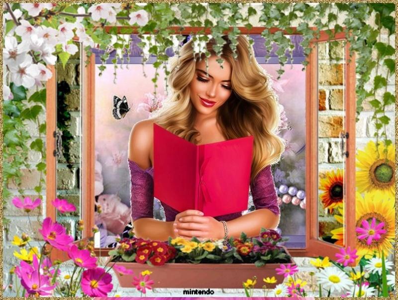 Cadre fenêtre, lierre, fleurs 38cd1c10