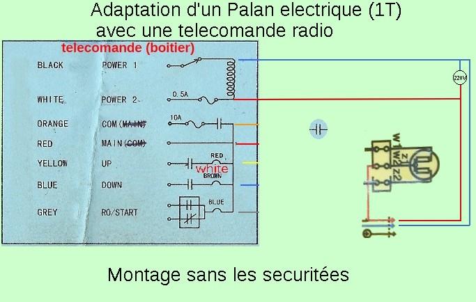 adaptation. Palan 1T 220v filaires avec telecommande sans fils. Schema10