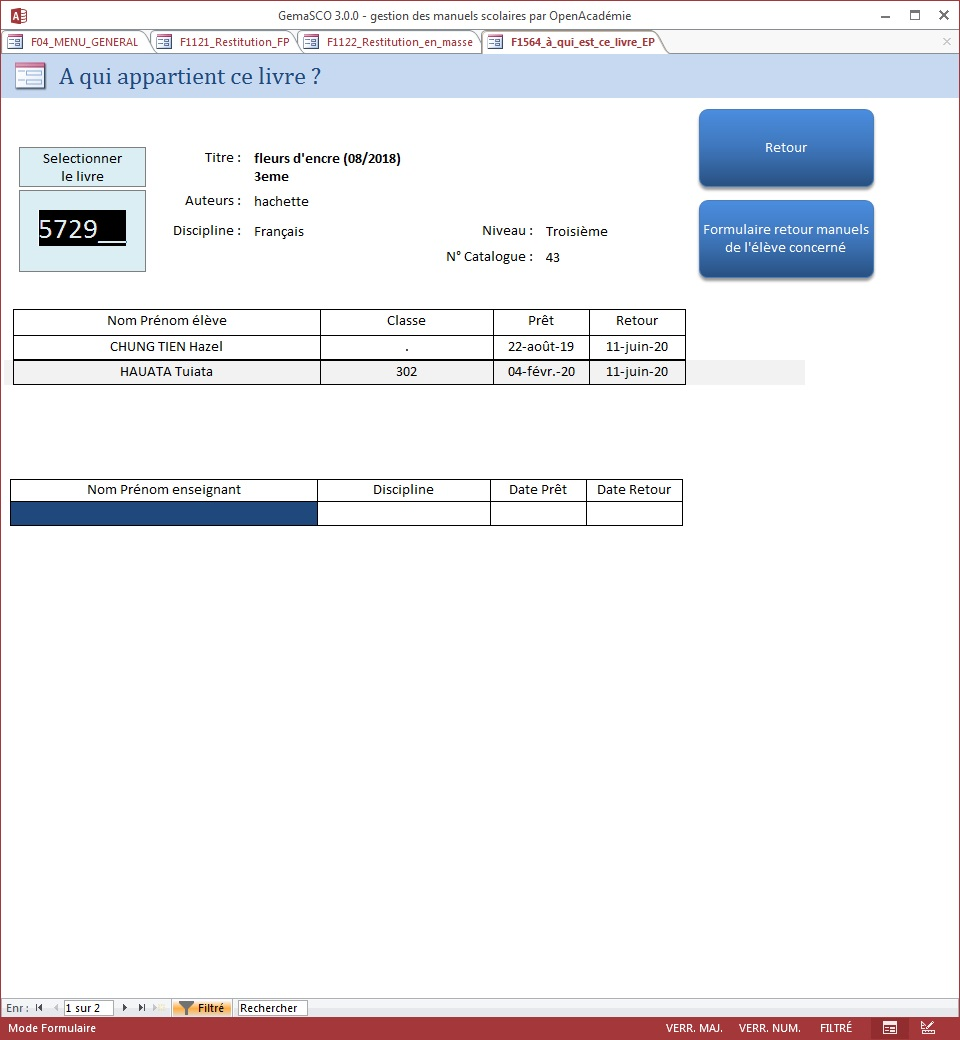 GemaSCO (GEstion MAnuels SCOlaires) version 3.0.1 spéciale Covid le 30 mai 2020 Resti_13
