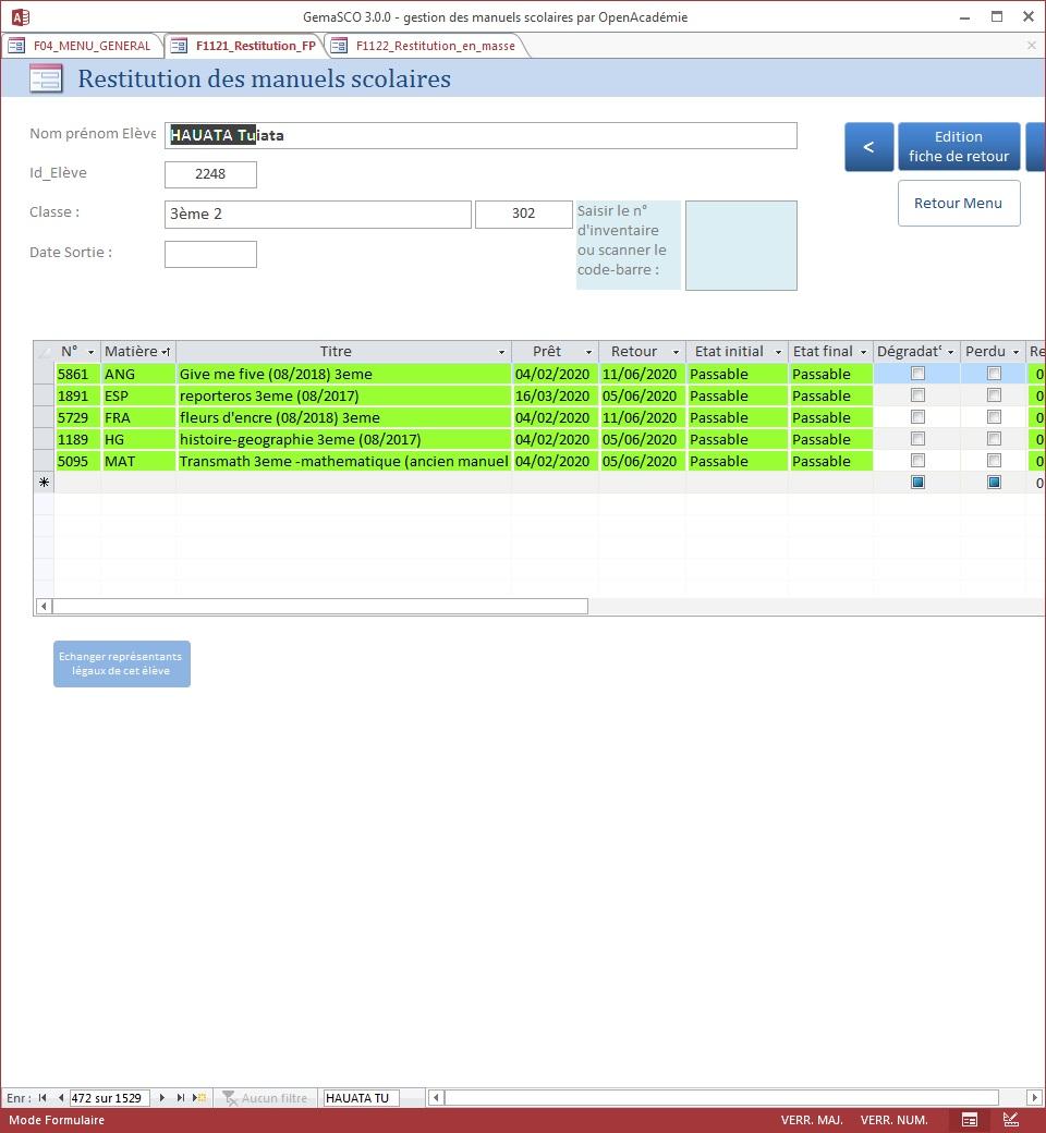GemaSCO (GEstion MAnuels SCOlaires) version 3.0.1 spéciale Covid le 30 mai 2020 Resti_14