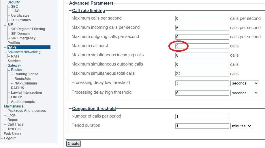Call Rate Limit Settings 312
