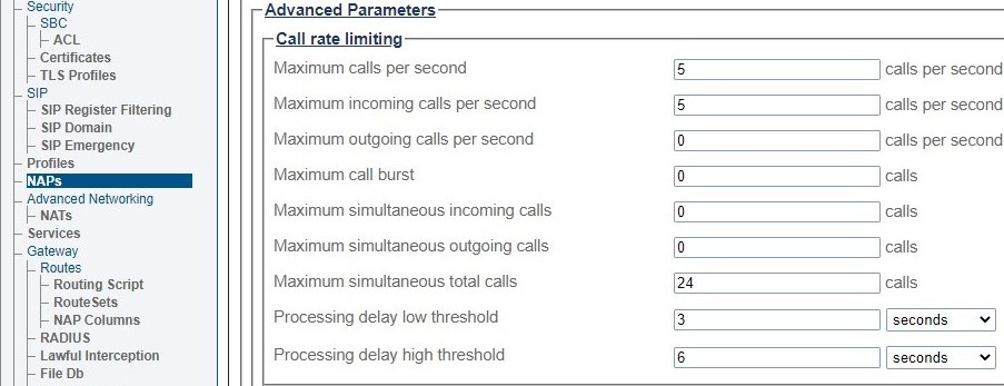 Call Rate Limit Settings 511