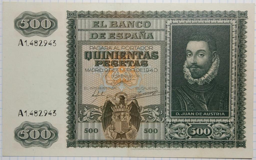500 pesetas 1940 Juan de Austria 500_de20