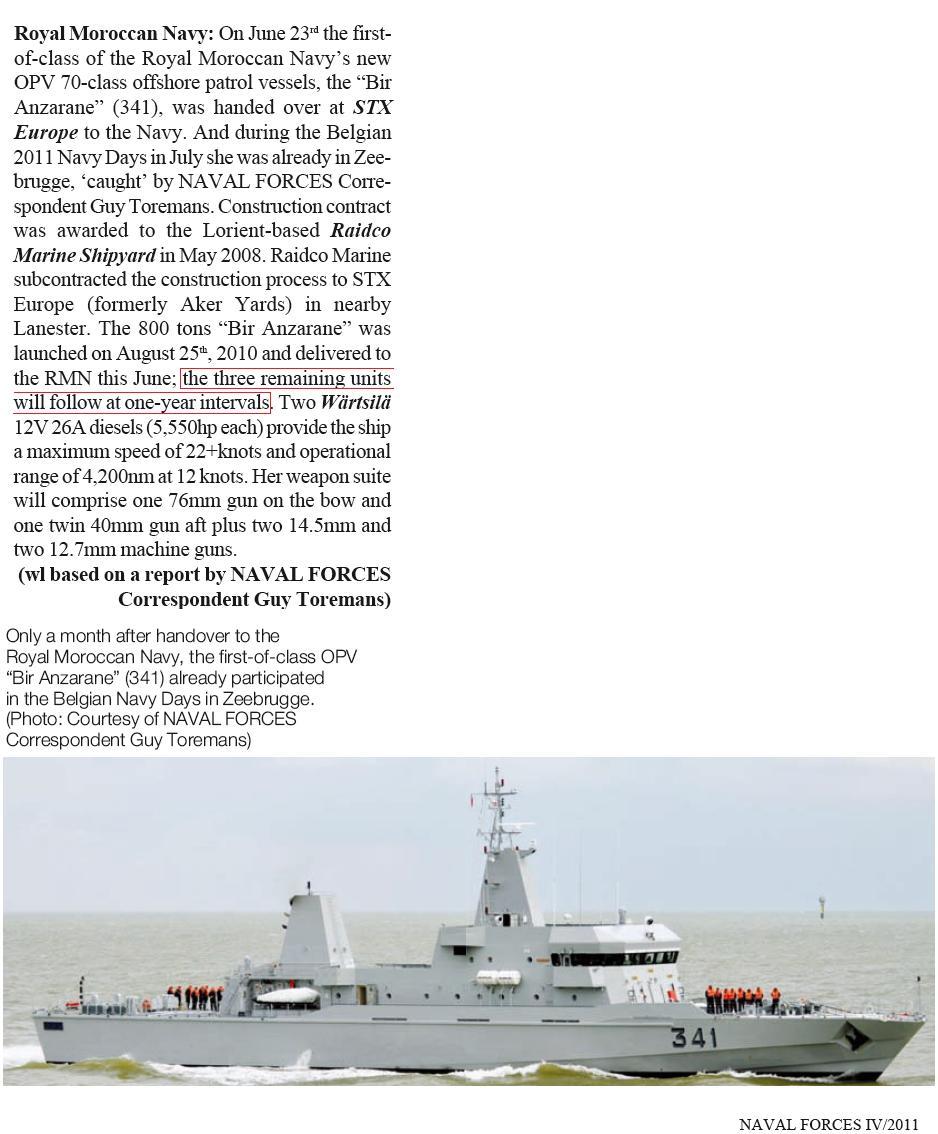 Royal Moroccan Navy OPV-70 / Classe Bir Anzarane - Page 3 Opv_bi10
