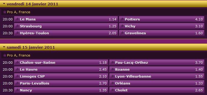 Pronostics 14ème journée Pro A : Le Mans Poitiers - Limoges Villeurbanne - Nancy Cholet... 14ame10