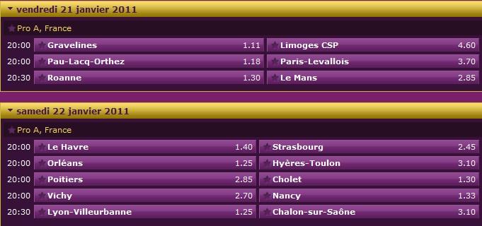 Pronostics 15ème journée Pro A : Roanne Le Mans - Gravelines Limoges - Pau Orthez Paris Levallois... 15ame11