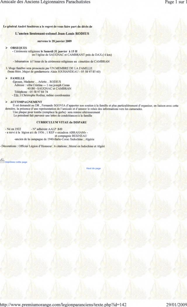 décès du l/col RODIUS 29-01-10