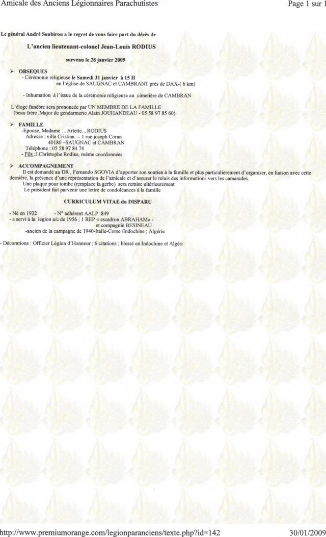 décès du l/col RODIUS 30-01-10