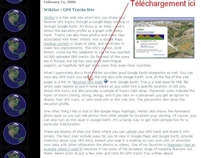 WikiLoc : des itinéraires vers Google earth. Captur21