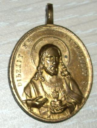 Grande médaille fin XIXe siècle - Christ et Vierge Sacrés Coeurs Imgp1510