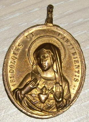Grande médaille fin XIXe siècle - Christ et Vierge Sacrés Coeurs Imgp1511