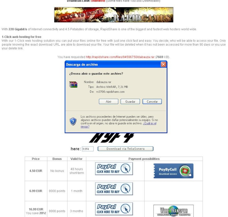 Tutorial descarga archivos rapidsahare 410